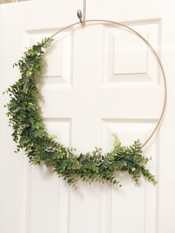 "Photo of 19 ""Modern Hoop Wreath With Greenery, Large Hoop Wreath, Wedding Hoop Wreath – Faux Eucalyptus Wreath, Modern Style Wreath, Farmhouse Wreath"