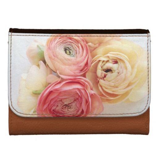 Ranunculus warm colors wallet #PrettyWallet, #GirlyWallet, #ranunculus, #FloralWallet