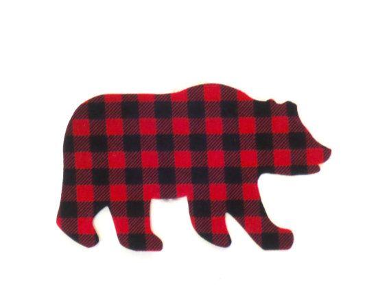 Bear Iron On Applique Buffalo Plaid Bear Iron Onto Gift