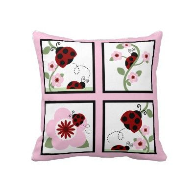 Red Ladybugs and Flowers Personalized Pillow