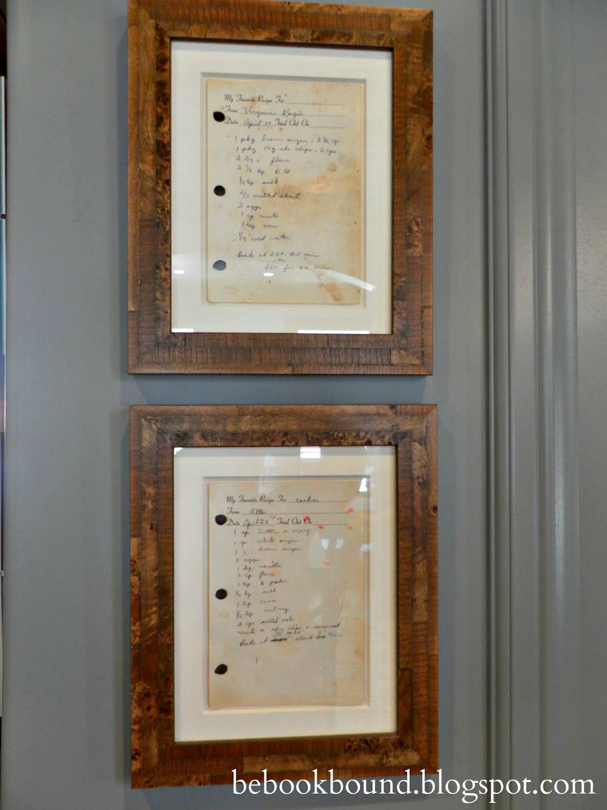 Be Book Bound: Framed Recipes -Great way to preserve memories ...
