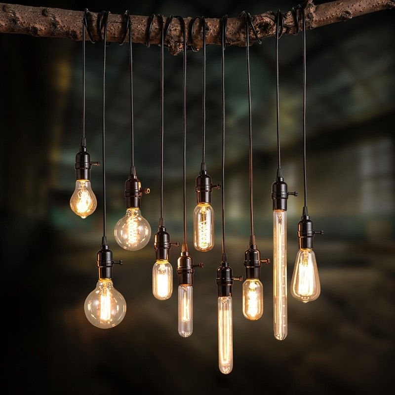 Exposed Bulb And Cord Add A Vintage Feel Using Various Edison Bulbs