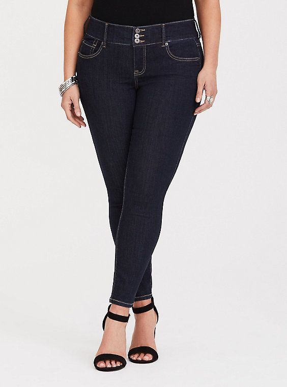 144e5cbed02e40 Mid-Rise Stretch Jeggings in Dark in 2019 | Products | Plus size ...