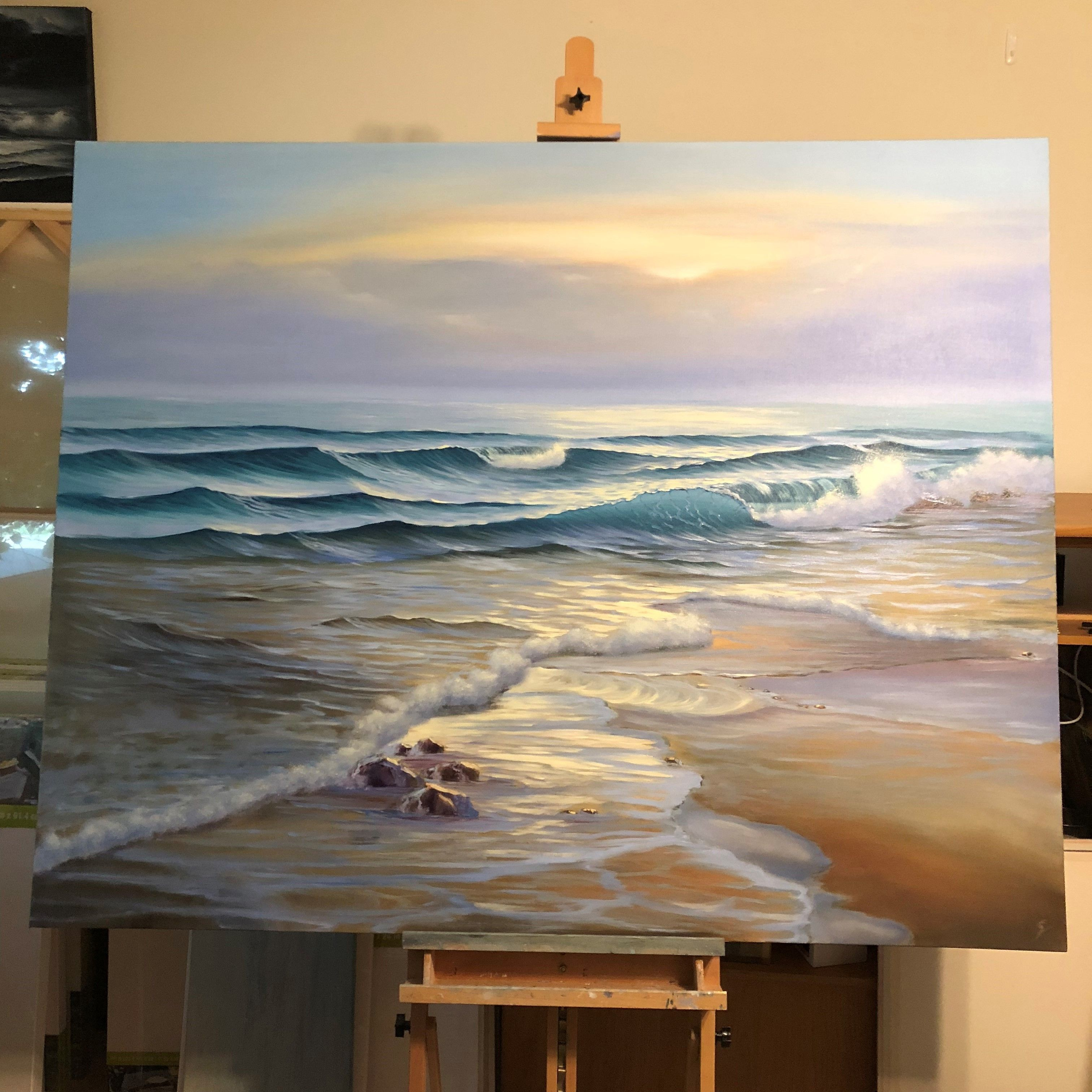 Yay Commission Finished And Approved By The Customer Awakening Oil On Canvas 60x48 Inch I Ve Made A Time Ocean Landscape Painting Seascapes Art Ocean Art