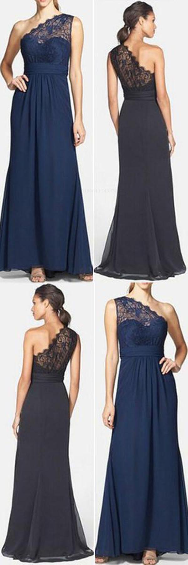 Aline navy blue lace long simi bridesmaid dresses