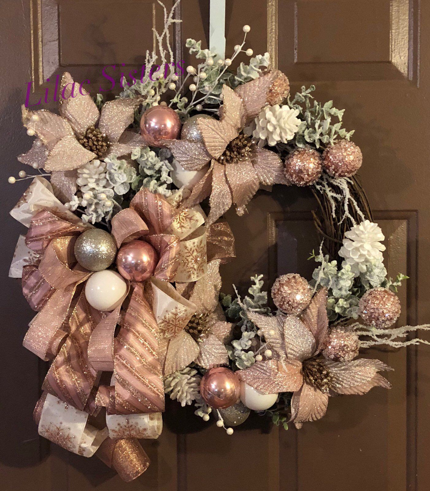 Rose Gold wreath, Christmas Wreath, Elegance, sparkling, festive wreath, holiday wreath images