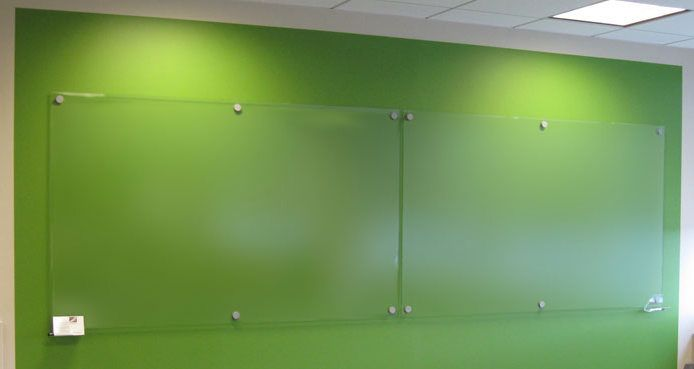 Clear glass white board with green wall backing Buy online today