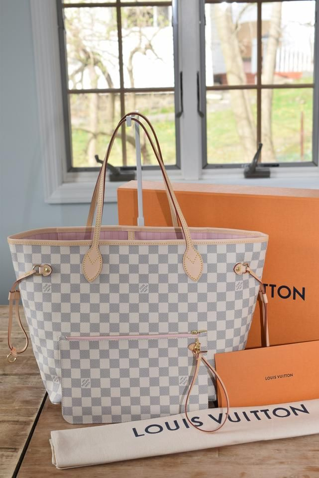 9b75fdd599fb Louis Vuitton Lv Neverfull Mm Neverfull Gm Tote in Damier Azur with ROSE  BALLERINE