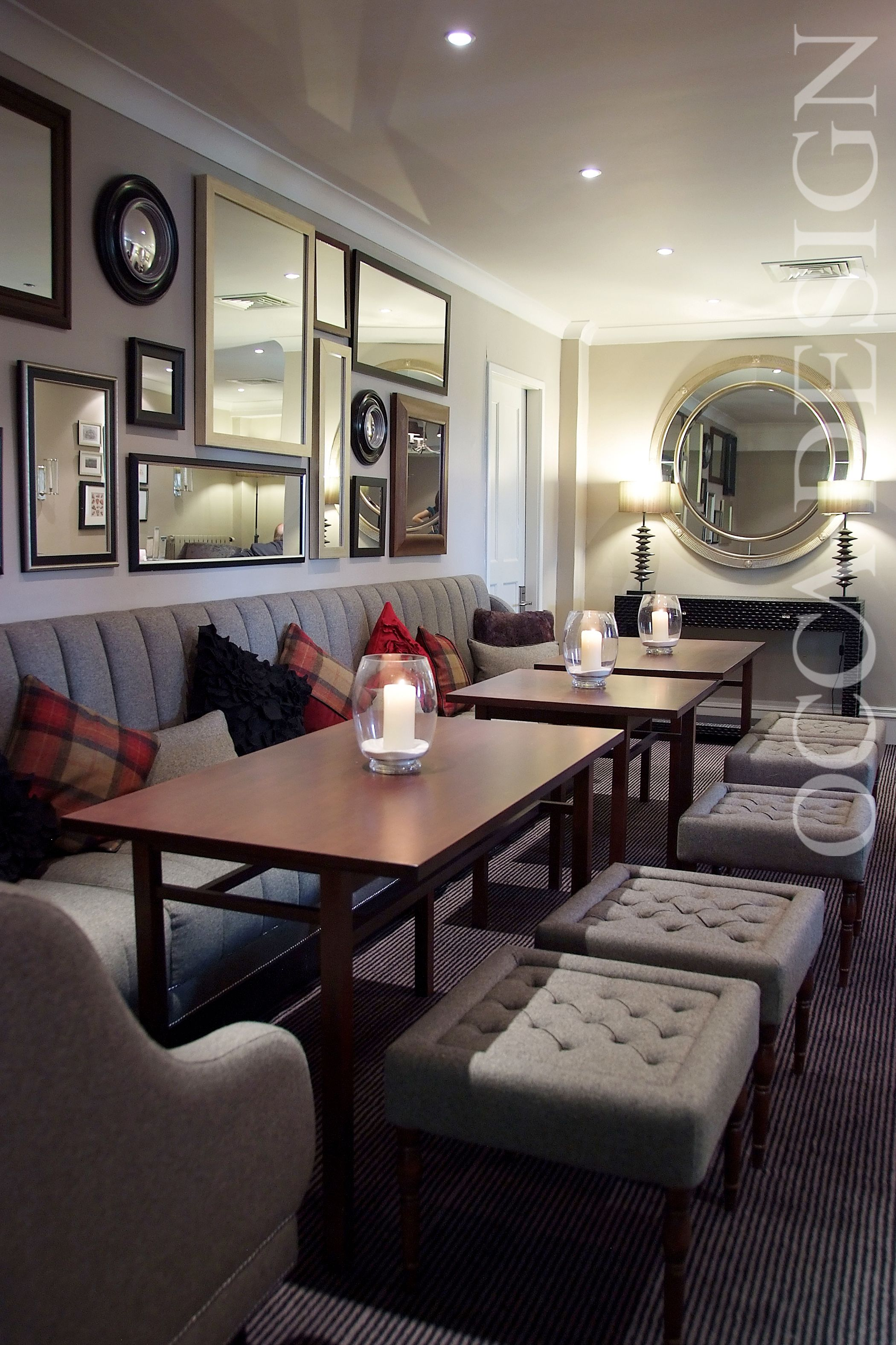 Bar Interior, Lounge Interior, Hotel Restaurant Interior, Scottish Hotel Interior, Bfixed seating, Banquette Seating, Grey & Red, MIrror Collection, The Landmark Hotel, Dundee, BDL Hotels