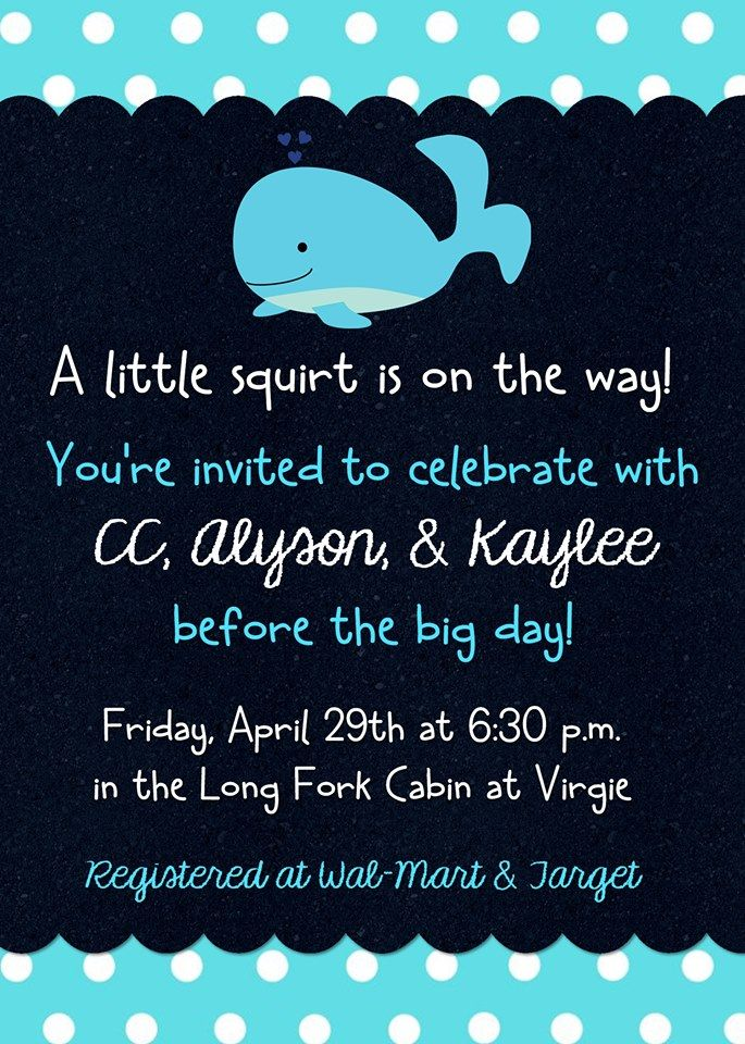 X Little Squirt Whale Baby Shower Invitation Contact Me Via