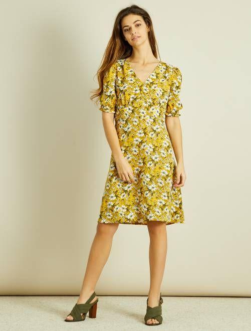 fb42ab03085 Robe courte fleurie jaune Femme - Kiabi