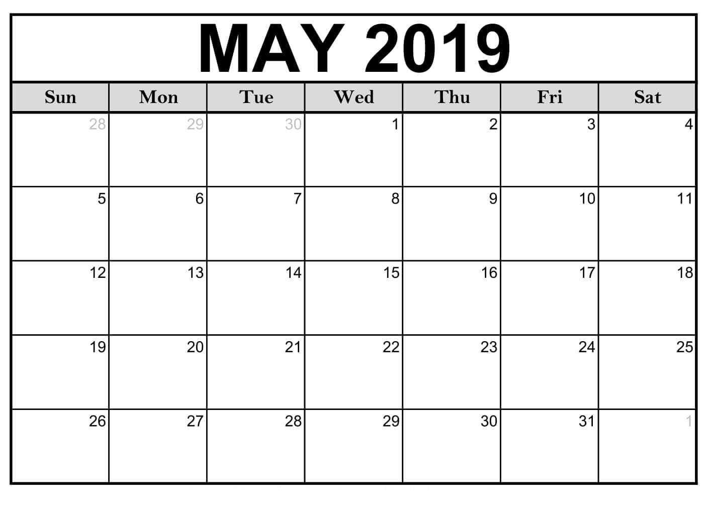 May 2019 Printable Calendar Vertical Editable Calendar Calendar