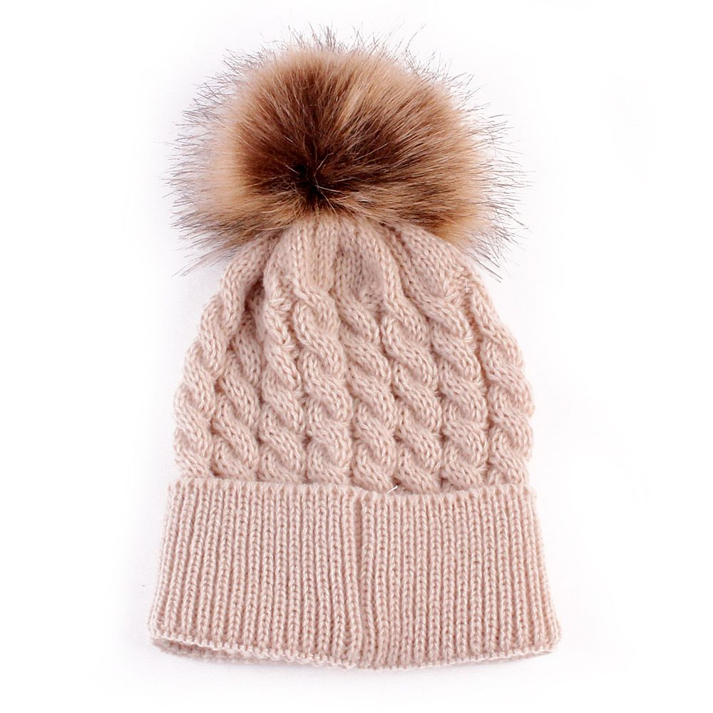 Click to Buy    Newborn Baby Girls Winter Hat Fur Ball Pom Pom Cap Kids  Winter Knitted Wool Hats Caps for Boys Beanies  Affiliate 784634b8f8ea