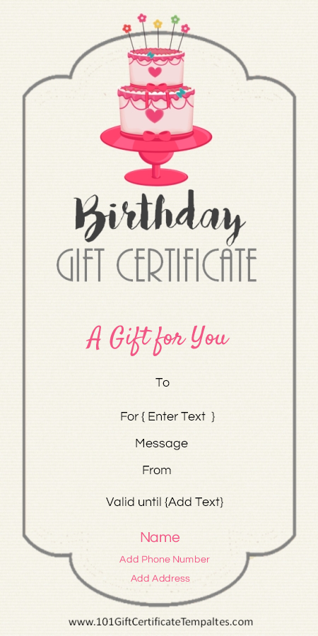 Free Printable Birthday Gift Certificate Template That Can Be Customized  Online With Our Free Certificate Maker And Printed At Home.  Create Gift Certificate Online Free