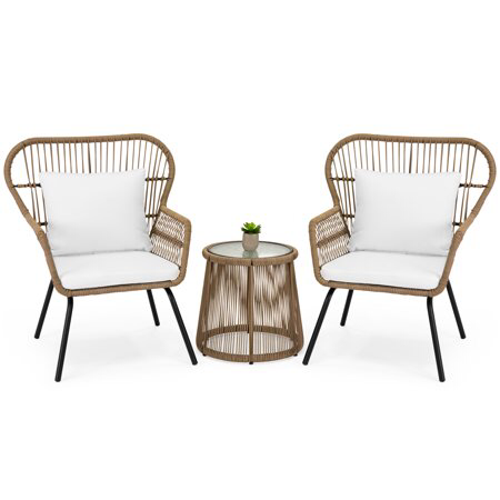 Best Choice Products 3 Piece Patio Wicker Conversation Bistro Set W 2 Chairs Glass Top Side Table Cushions Tan Walmart Com Backyard Furniture Wicker Patio Furniture Resin Patio Furniture