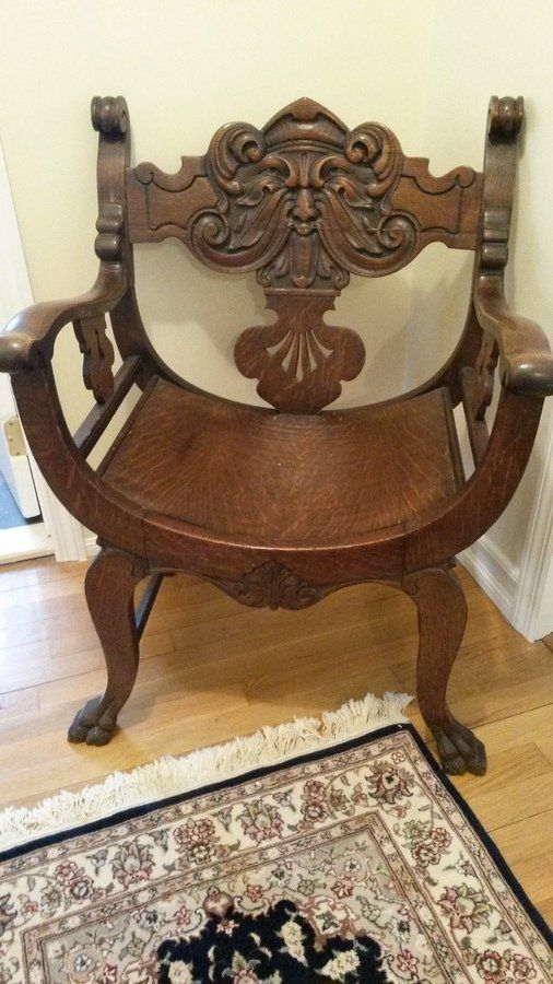 Chair: Antique Carved Face Throne Chair | My Antique Furniture Collection - Chair: Antique Carved Face Throne Chair My Antique Furniture