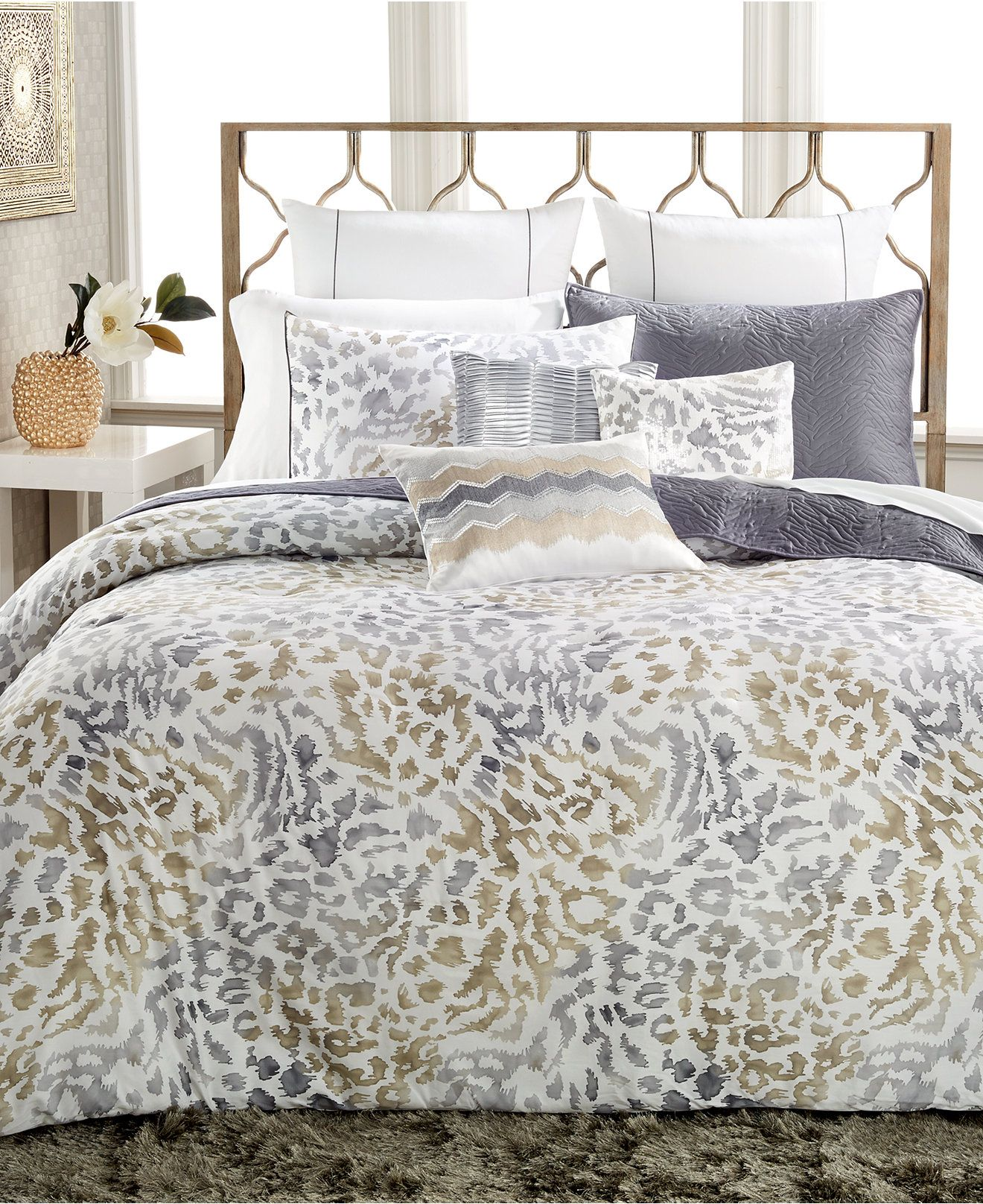 inc international concepts cheetah graphite comforter and duvet  - inc international concepts cheetah graphite comforter and duvet cover sets bedding collections  bed