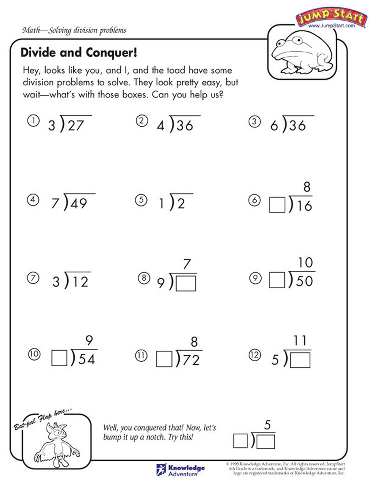 Uncategorized Jumpstart Worksheets help mister toad solve these division problems printable math divide and conquer grade worksheets jumpstart