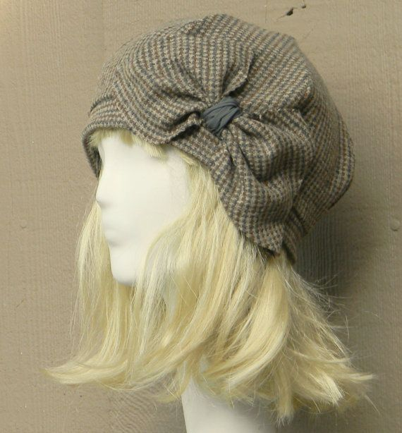 Beret Hat Vintage Brown Herringbone Wool with by Bellastarrhats,