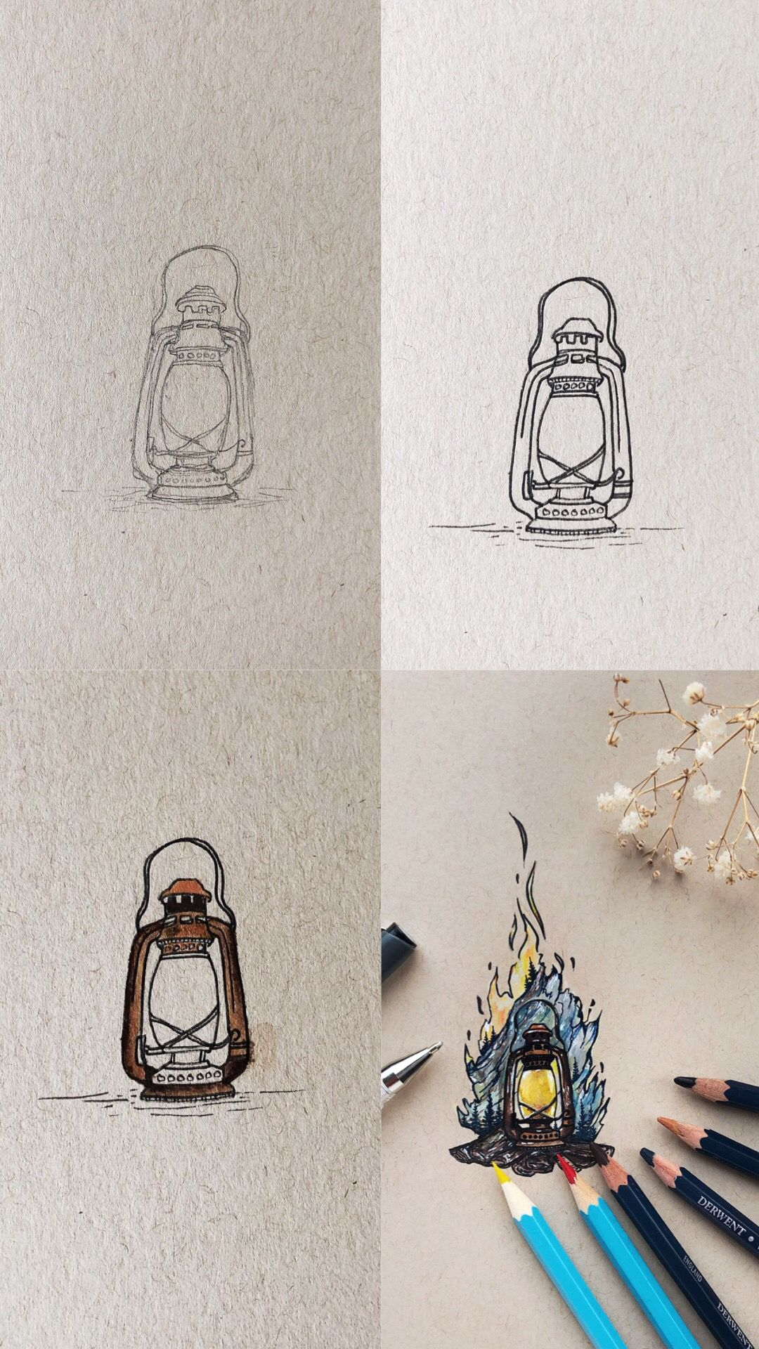 Watercolor Pencils And Ink Lantern Doodle Mini Tutorial With Step