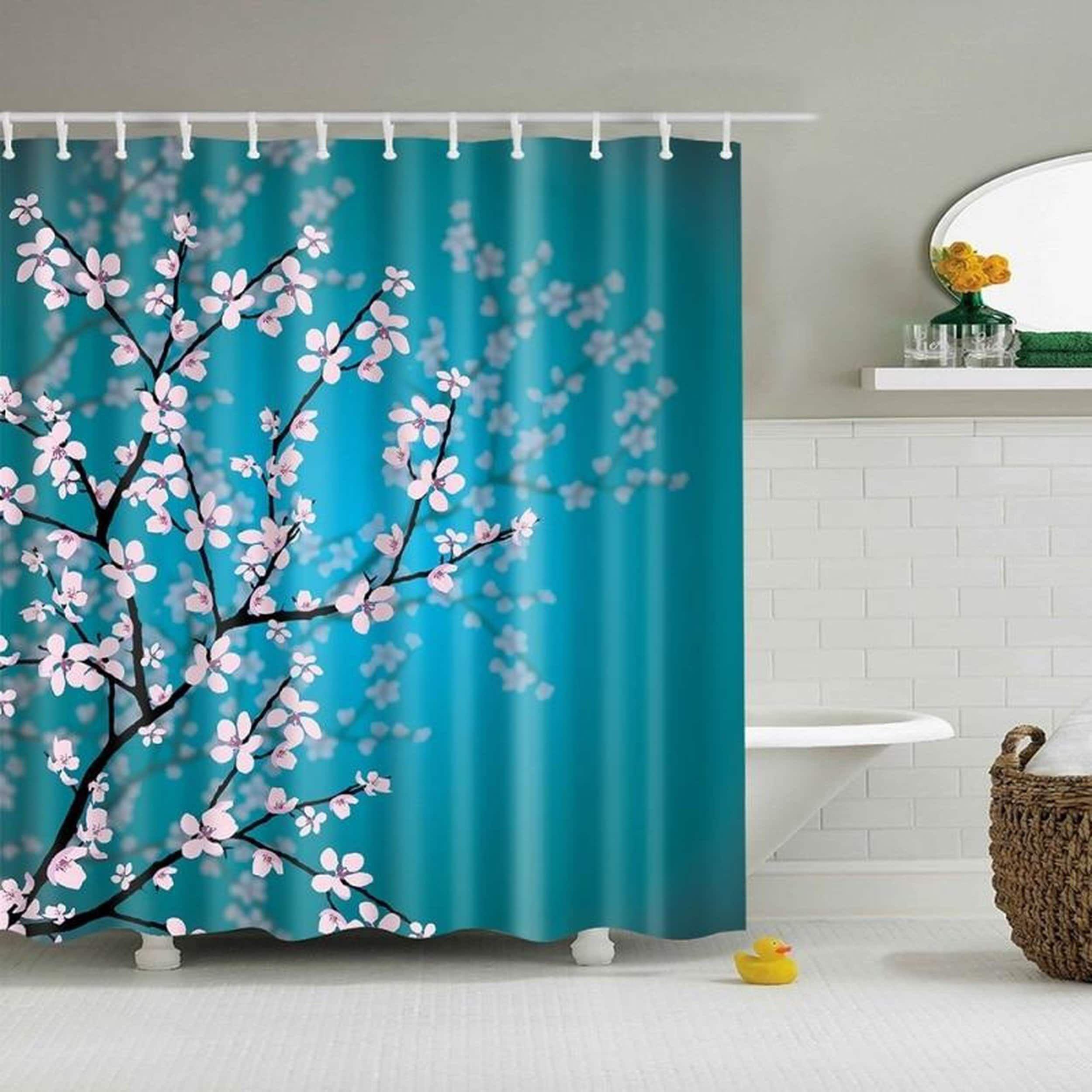 Colorful Summer Llama Bathroom Fabric Shower Curtain Liner Waterproof 12 Hooks