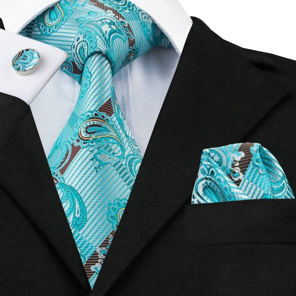 a252dfc95116 Teal and Brown Paisley Tie/Pocket Square/Cufflink Set - Men's tie, wedding,  formal, business, gift
