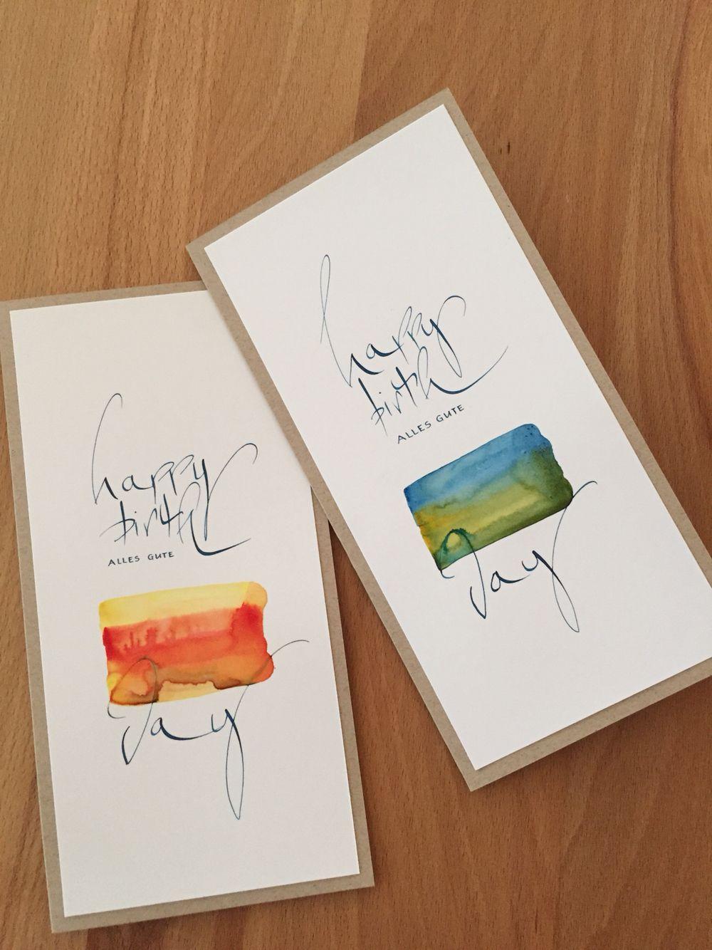 Geburtstagskarten | Aquarell malen | Pinterest | Kalligraphie ... - Geburtstagskarte Schreiben