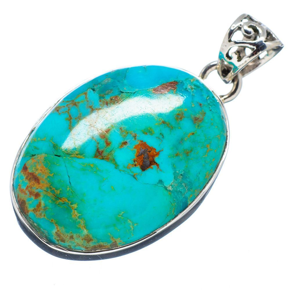 "Tibetan Turquoise 925 Sterling Silver Pendant 1 1/2"" PD495042"