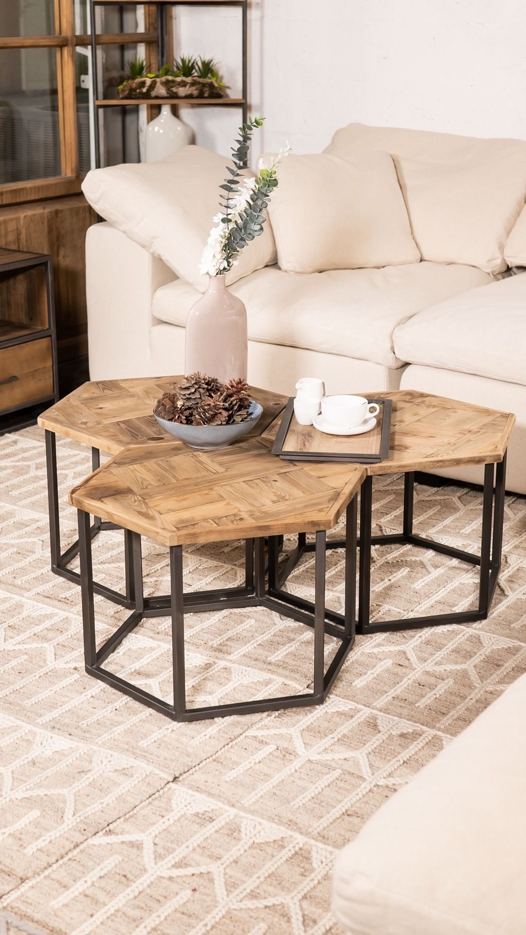 Hexagon Coffee Set Centre Table Living Room Coffee Table Small Apartment Interior [ 1920 x 1080 Pixel ]
