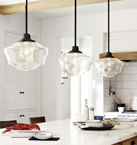 Love Clear Glass Schoolhouse Shades Kitchen Pendant LightingKitchen