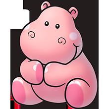 PINK HIPPO CLIP ART | baby murals | Cute hippo, Hippo ...