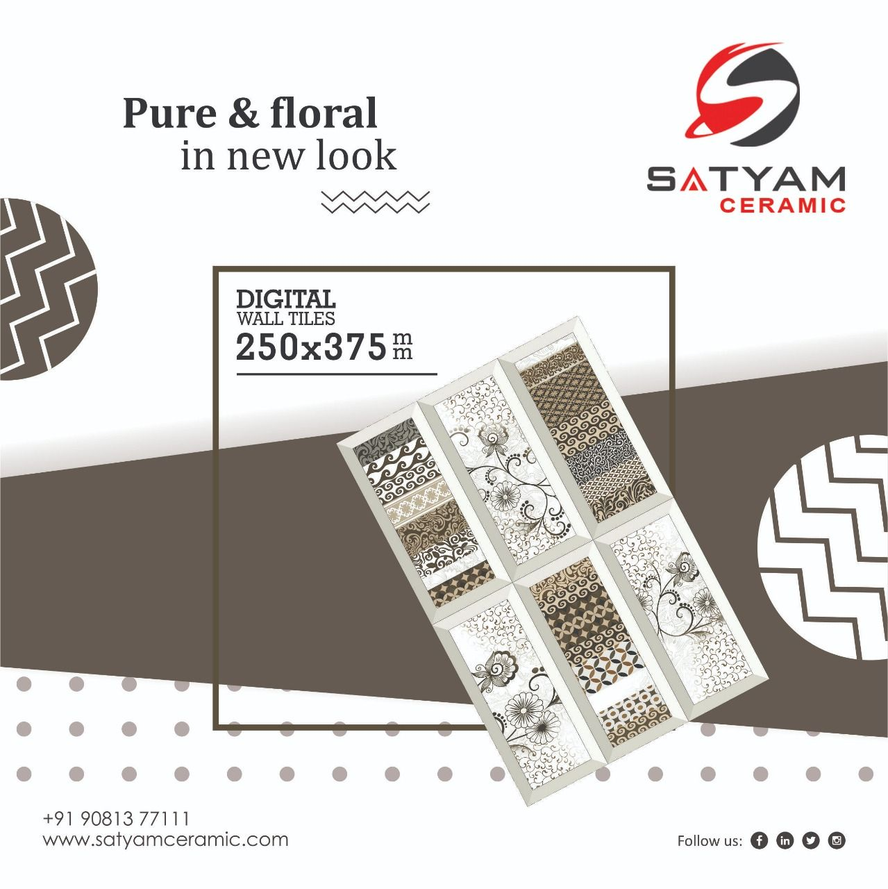 Pure Floral In New Look Satyam Ceramic Digital Wall Tiles 250x375 Mm Satyamceramic Satyamtiles Digitalwalltiles Walltil Digital Wall Wall Tiles Tiles