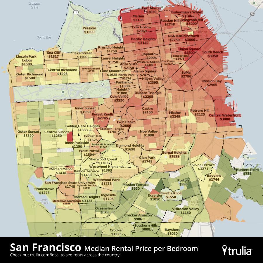 San Francisco Rental Map 900900 San Francisco Maps Pinterest