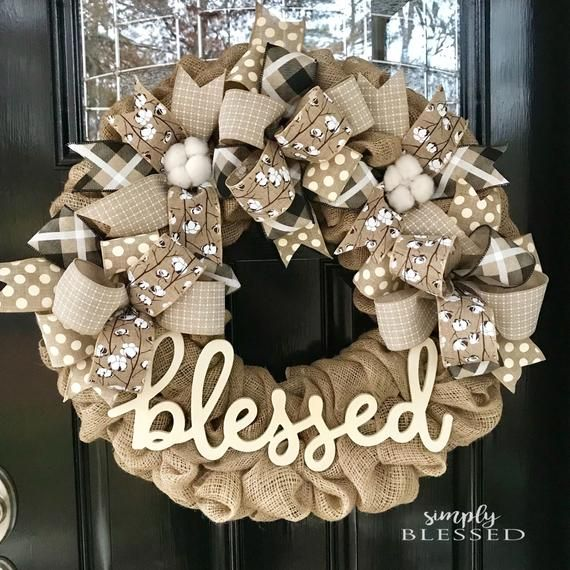 Photo of Farmhouse Cotton Blessed Burlap Wreath – as seen in COUNTRY SAMPLER magazine