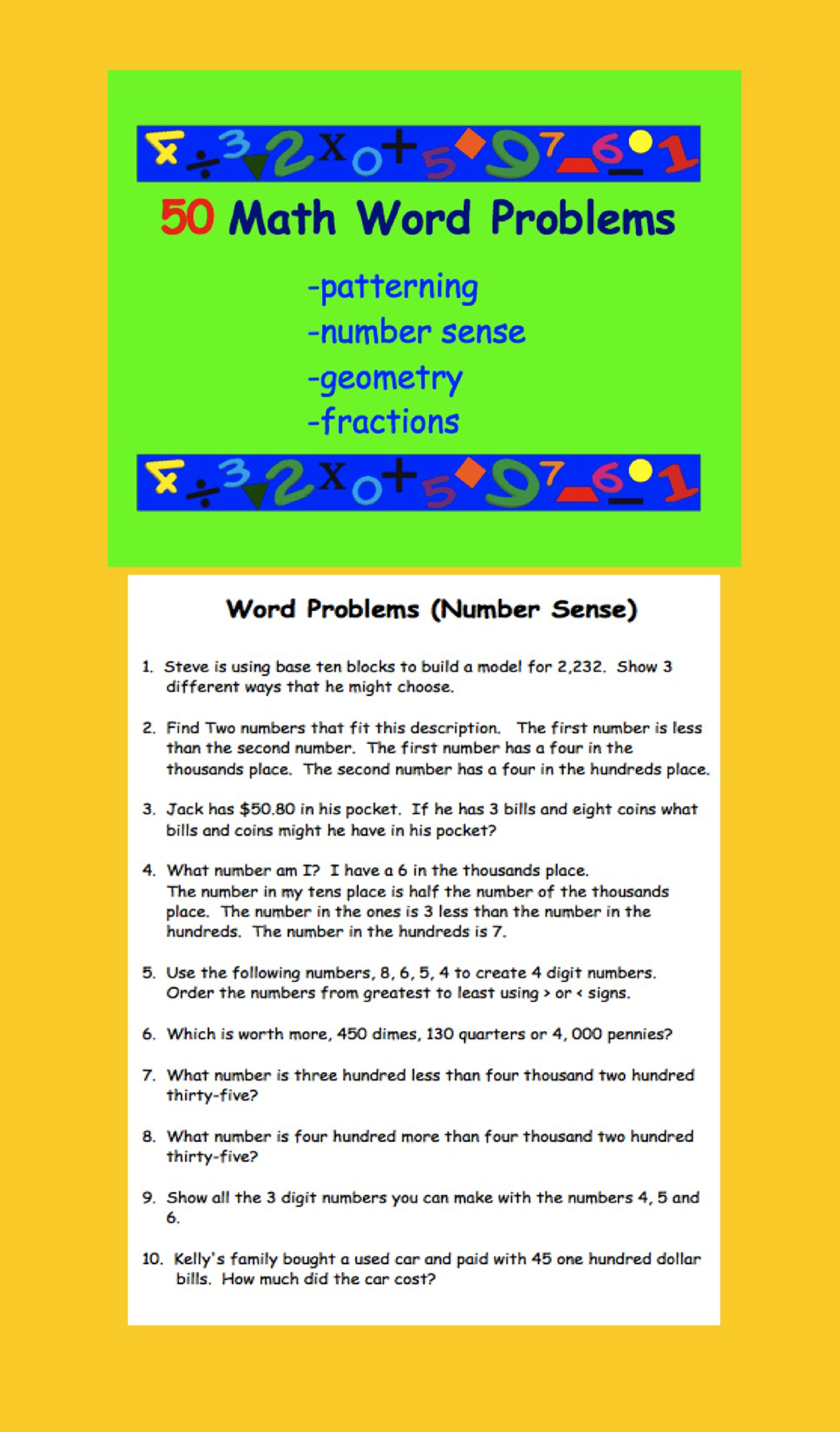 50 Math Word Problems Patterning Number Sense Geometry Fractions