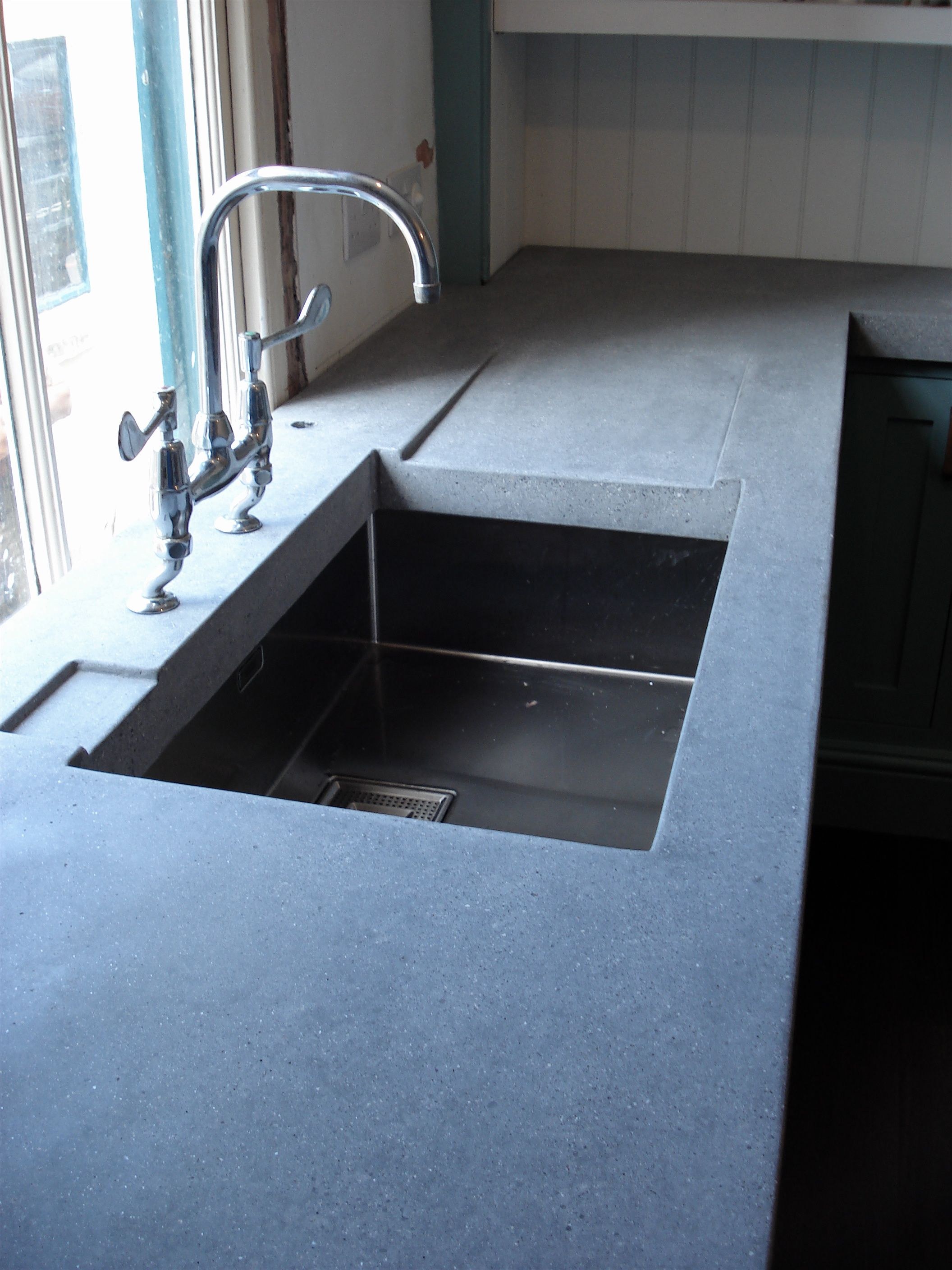 polished concrete worktop with drain away … | Kitchens | Pinterest ...