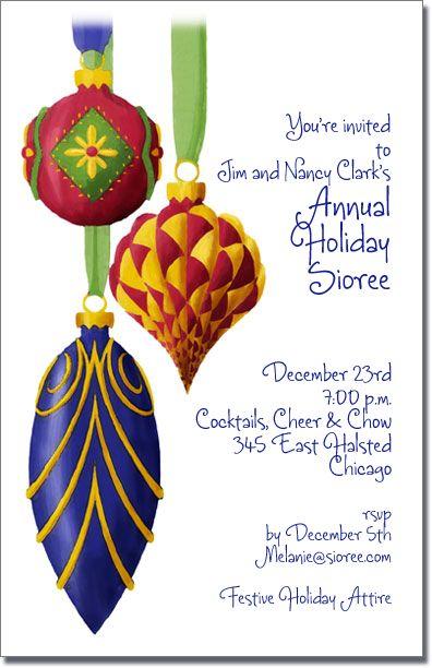 Ornate Ornaments Holiday invitations, Christmas invitations and