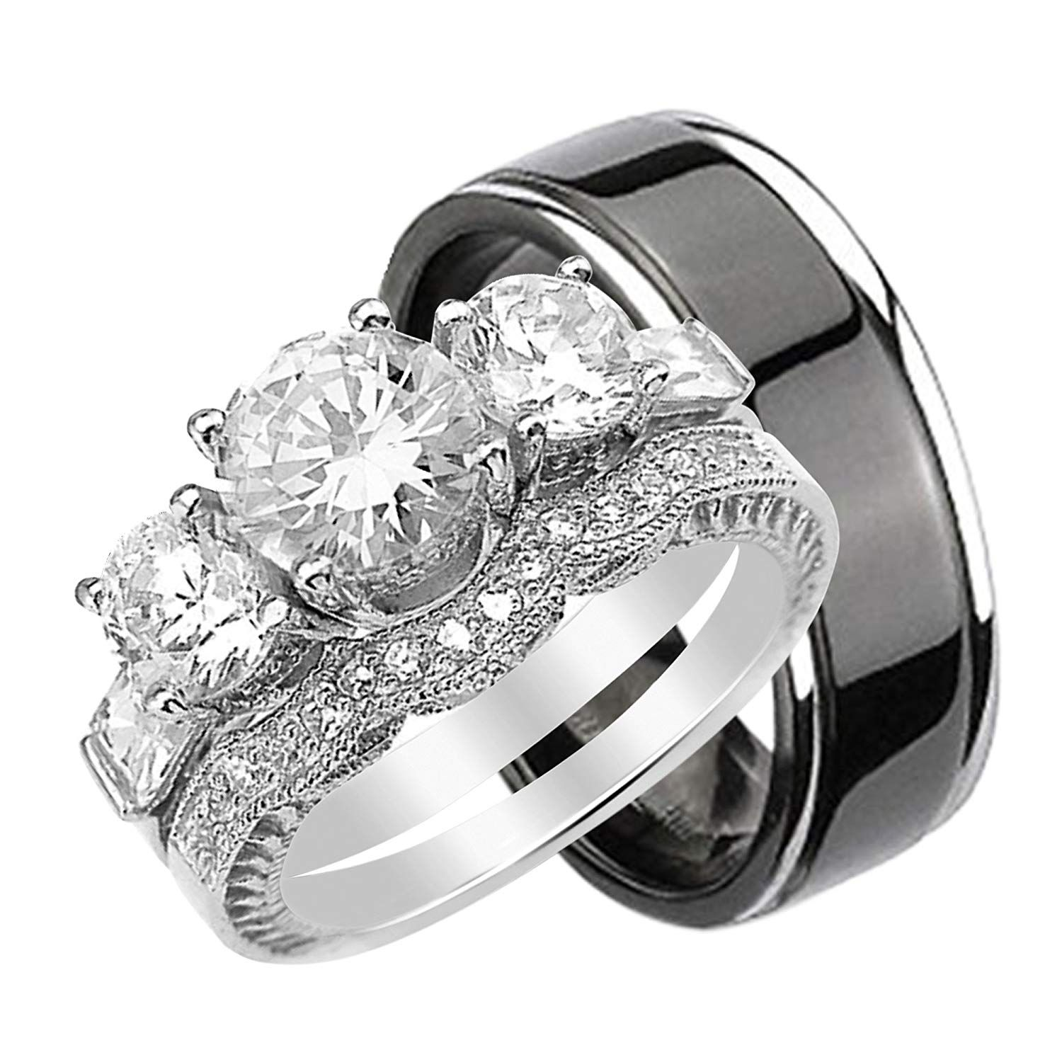 His and Hers Wedding Rings Set Her Sterling Silver Black