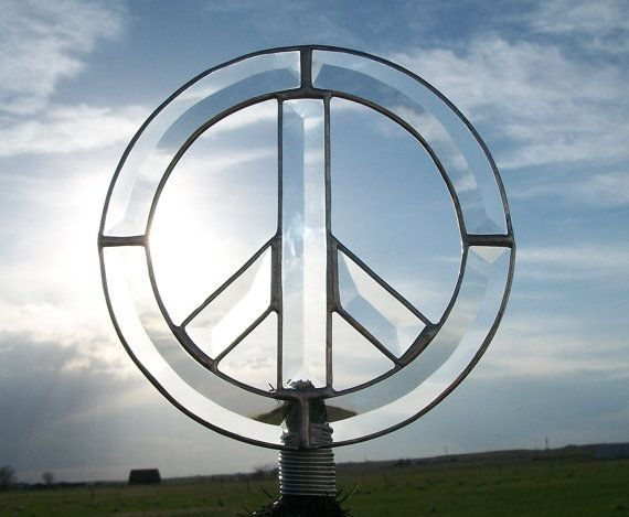 Peace Sign Christmas Tree Topper Clear Beveled by cityfreeglass