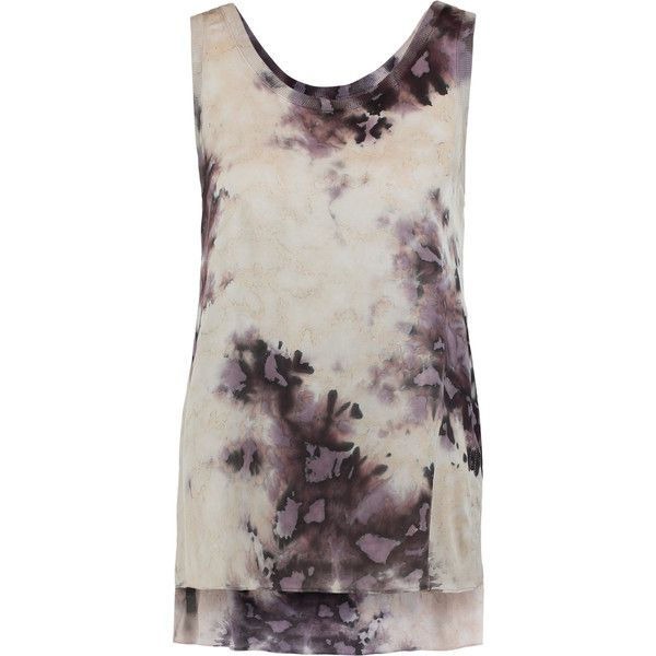 ENZA COSTA Ribbed knit-trimmed tie-dyed satin tank (140 AUD) ❤