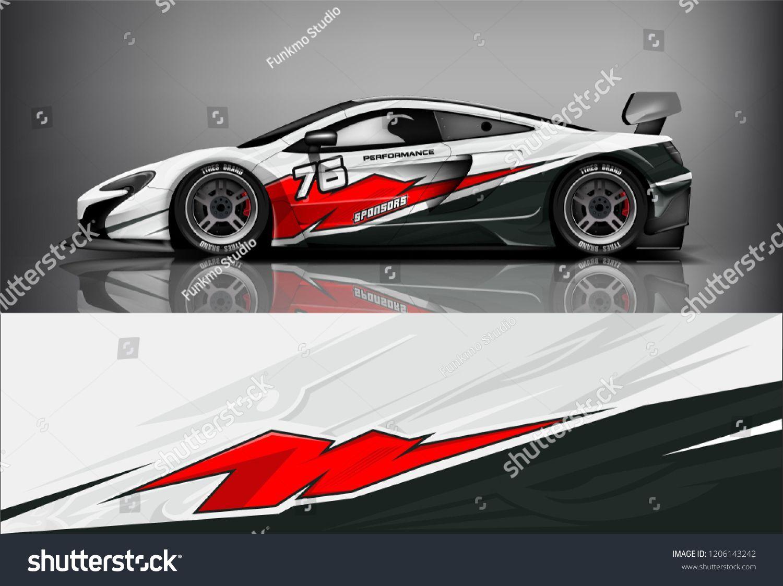Sport Car Racing Wrap Livery Design Stock Vector Royalty Free 1206143242 Car Sticker Design Sports Car Racing Race Cars