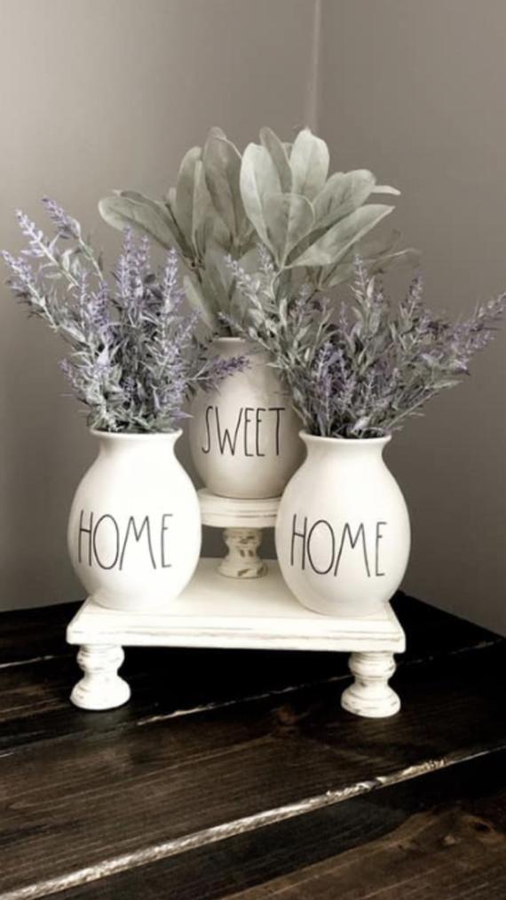 Farmhouse Stand, Home Sweet Home Vases Rae Dunn Stand, Farmhouse Riser, Stand