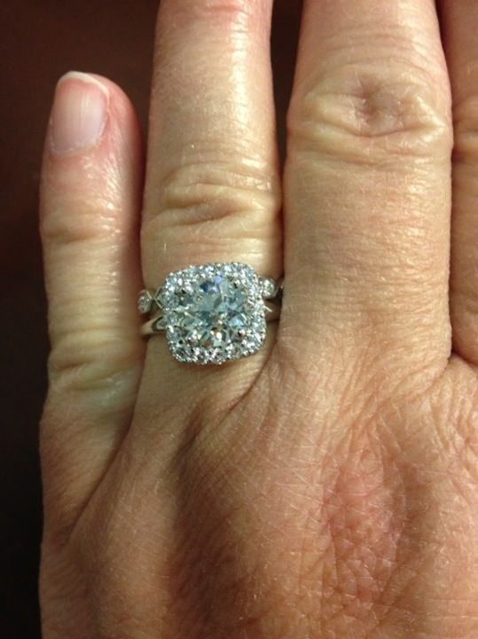 French Set Halo Diamond Engagement Ring In 14kt White Gold