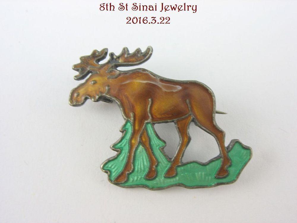 RARE Estate Aksel Holmsen Norne Sterling Silver 925S Enamel MOOSE Pin Brooch #AkselHolmsenNorne