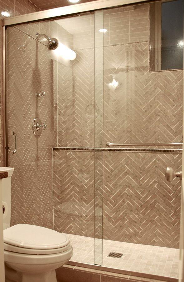 Shower Glass Door With Towel Rack Like The Herringbone Pattern Sliding Shower Door Shower Doors Glass Shower