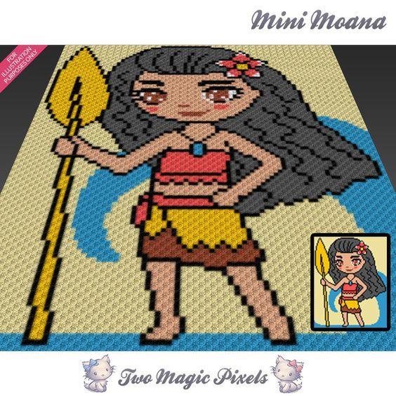 Mini C2c Pattern: Mini Moana Crochet Blanket Pattern; C2c, Knitting, Cross