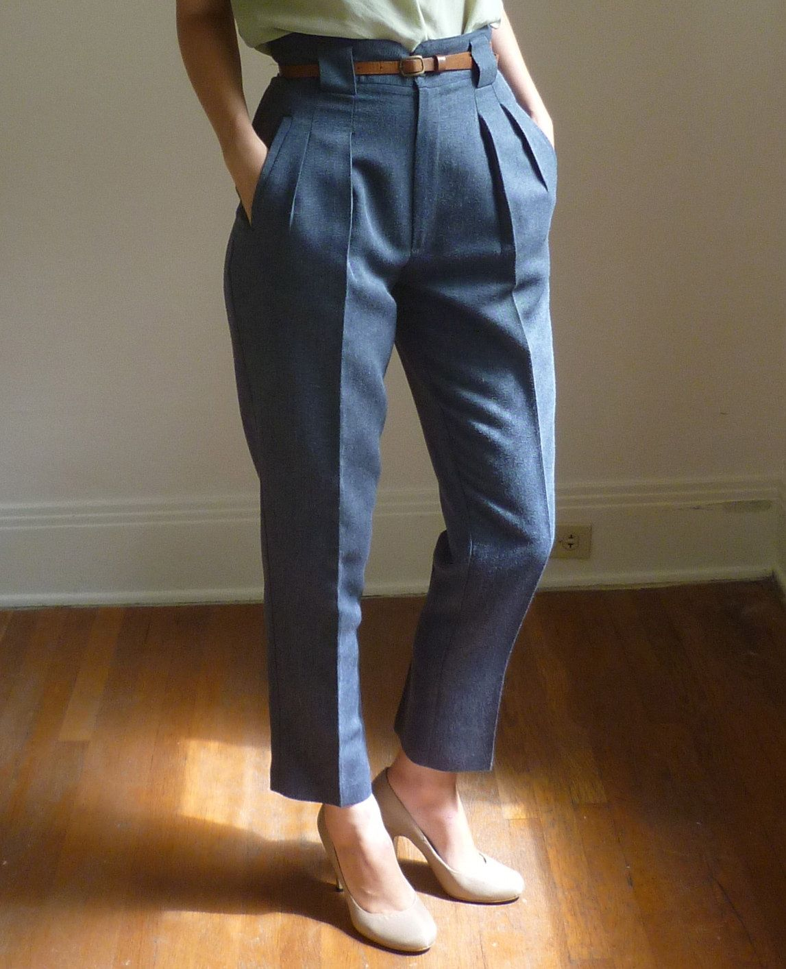 0bbcdb406df high waisted pleated pants with thin belt  3