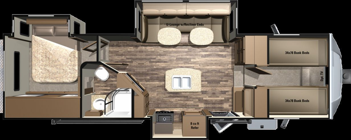 travel Elegant 5th Wheel Trailers with Bunk Beds Check