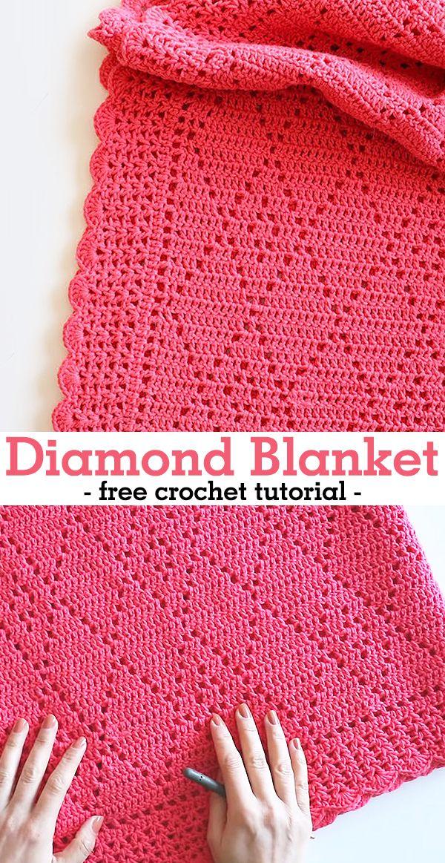Crochet Diamond Blanket  #afghans
