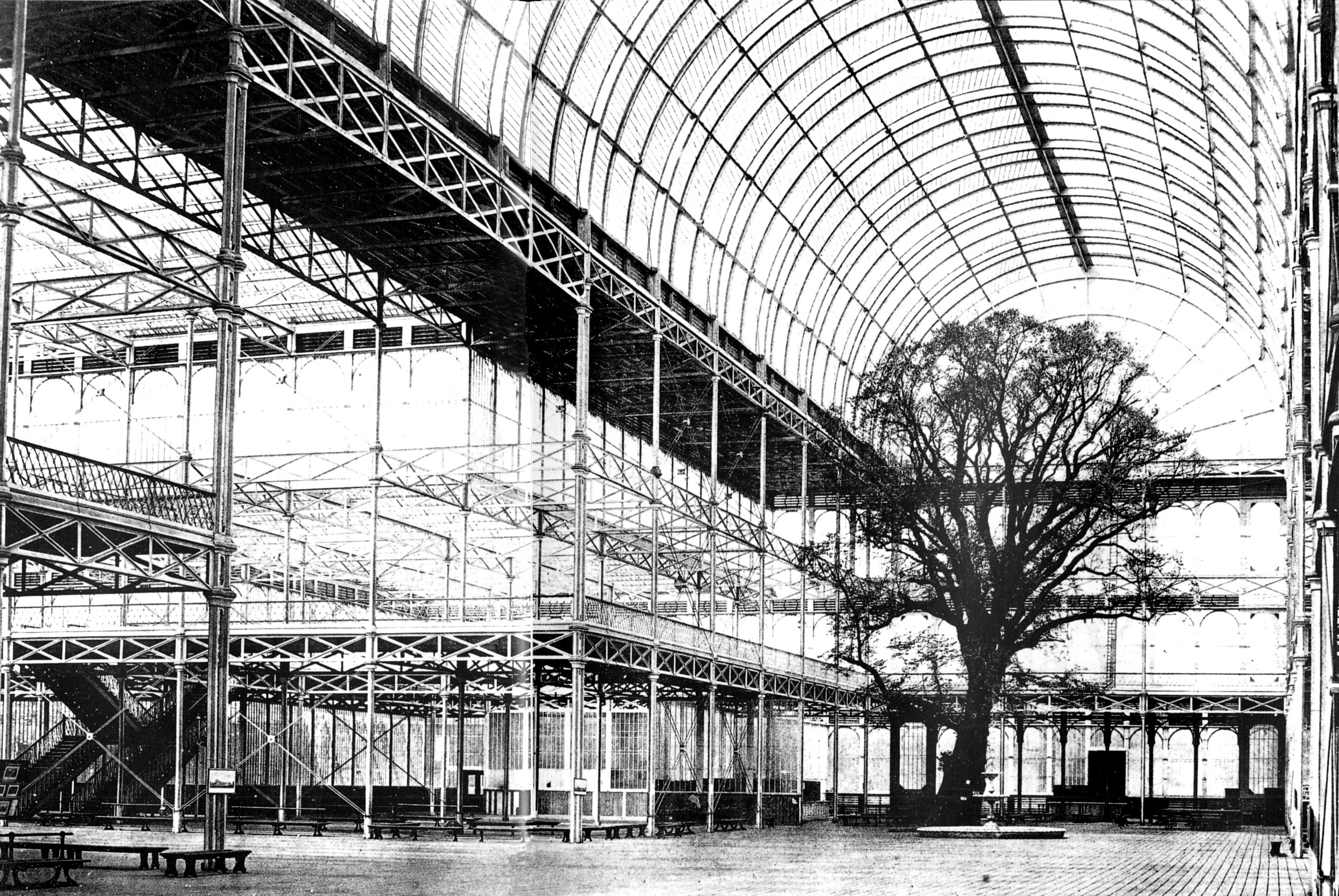 London. Crystal Palace. Uit 1851, voor de wereldtentoonstelling ...